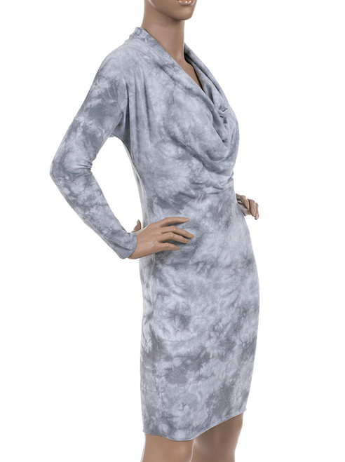 Crystal Wash 3/4 Sleeve Cowl Neck Dress. Organic Cotton & Modal Blend