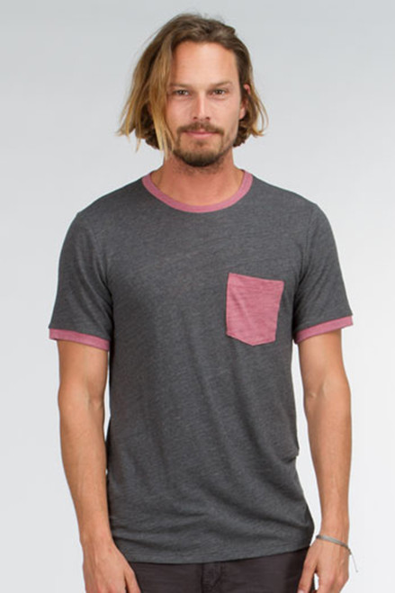 Men's Contrast Slub SS Ringer Pocket Crew Tee -Organic Cotton
