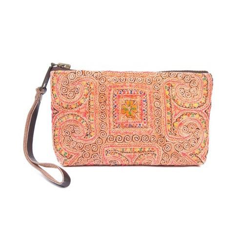 Mimi Orange Small Wristlet Bag -Upcycled Materials