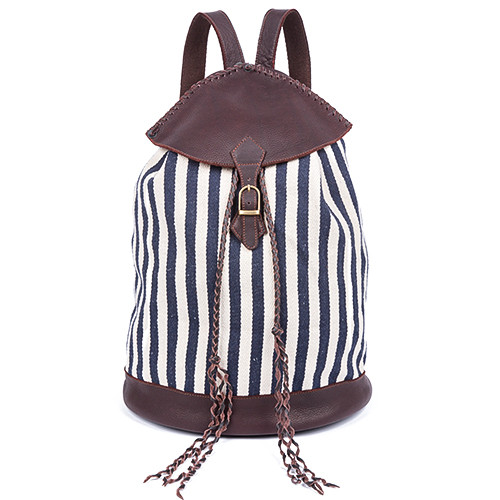 Indigo Stripes Valerie Backpack - Upcycled Materials