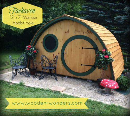 The Faehaven comes with a 4' diameter round front door and a 3' wide rectangular rear door.  There is one round front window and two round windows on the back gable wall. All come with a screen window and a removable plexiglass insert.