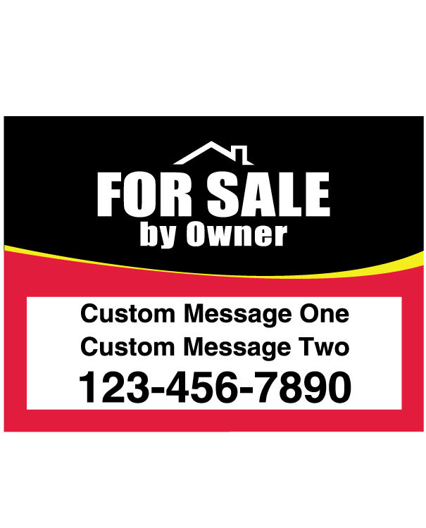 For Sale By Owner Hanging Sign Panel Black and Red - 18T x 24W