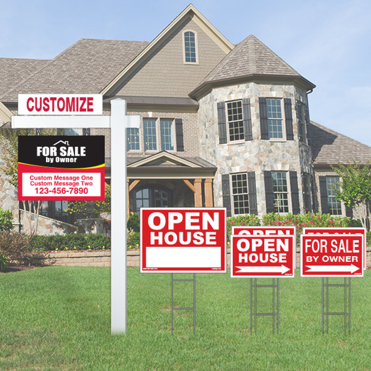 Deluxe Real Estate For Sale By Owner FSBO Sign Kit - Red/Black