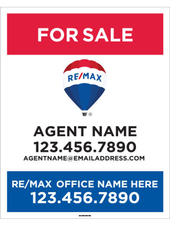 RE/MAX For Sale hanging yard sign