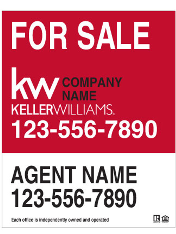 Keller Williams Hanging Sign -White & Red – 30T X 24W
