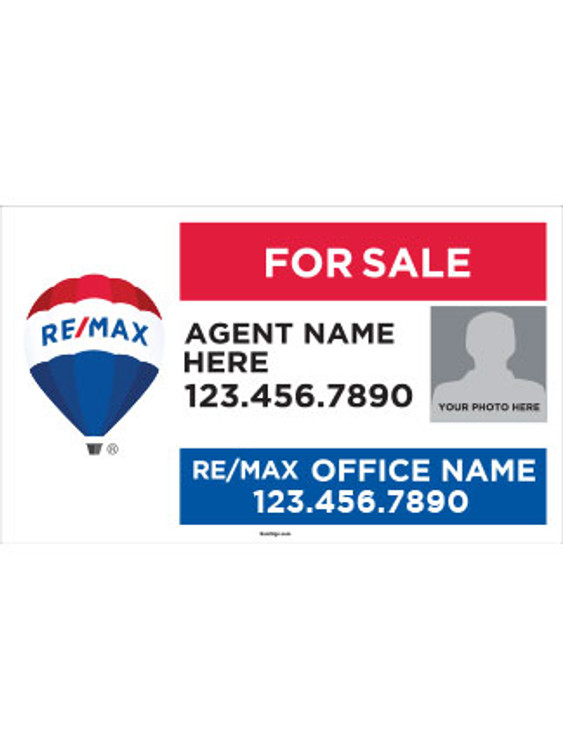 RE/MAX Yard Sign with Agent Photo – Style 2 – 18T X 30W