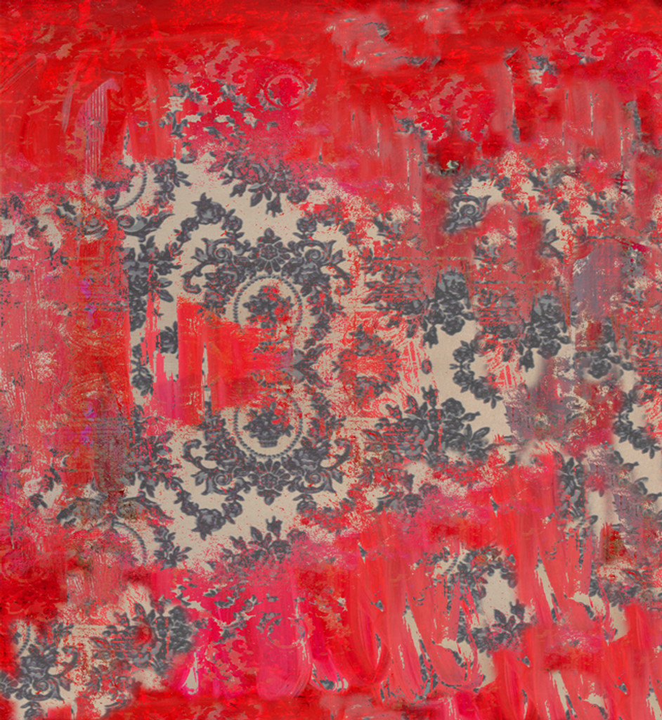 Fabric - Damask in Distress - Oh So Red