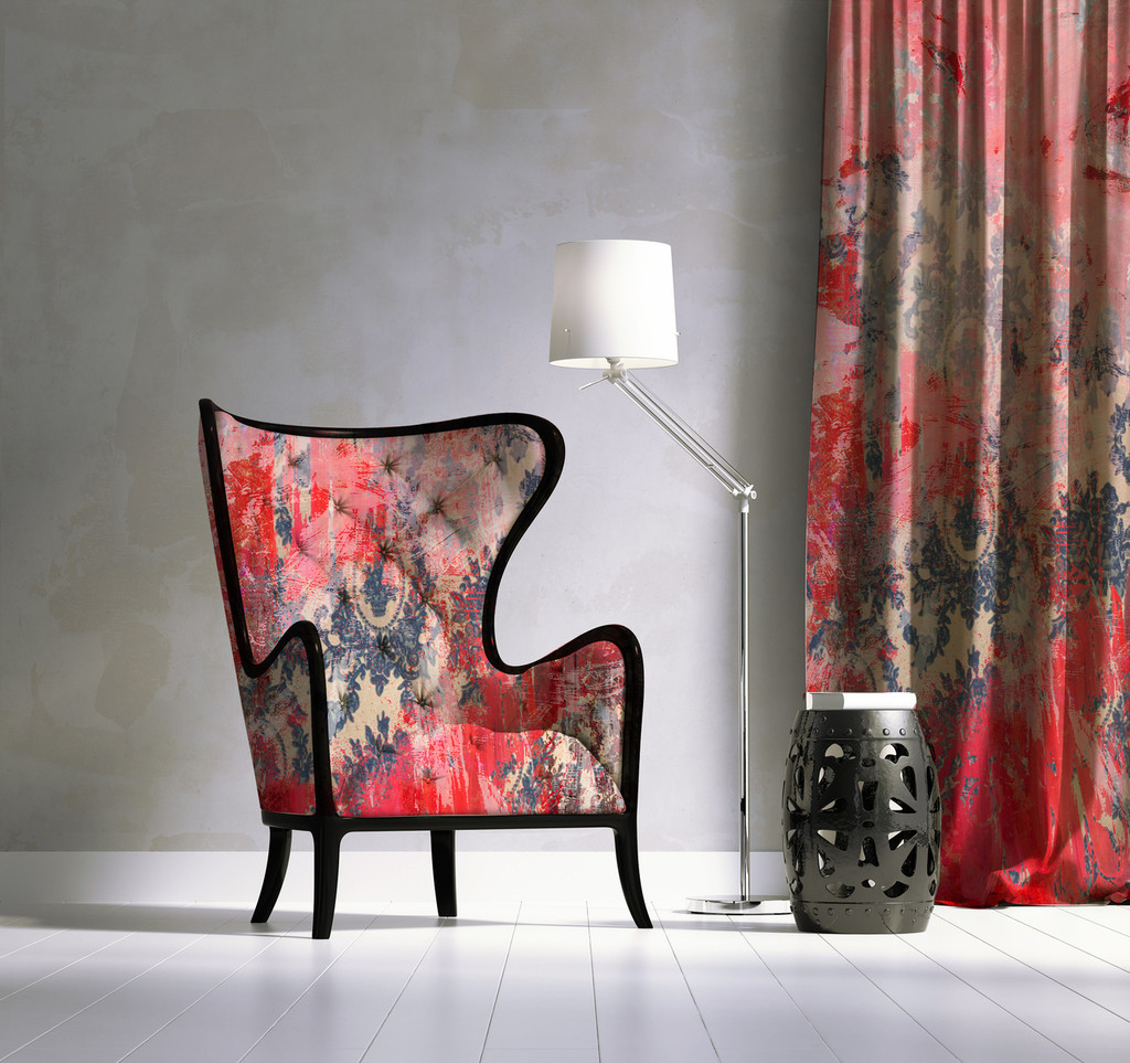 Fabric - Damask in Distress - Fading Pink