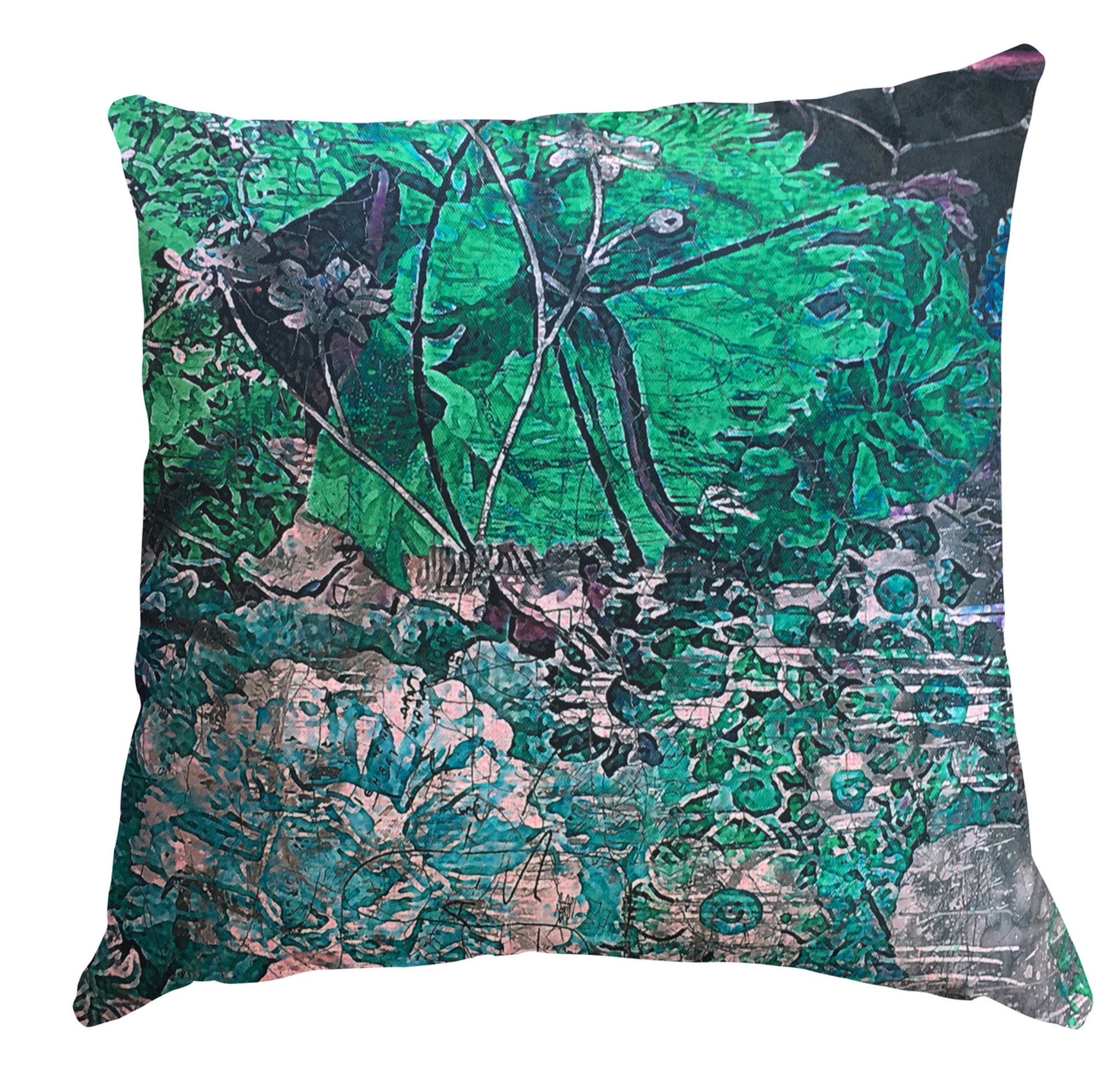 Cushion - Still Life with Flowers - Emerald