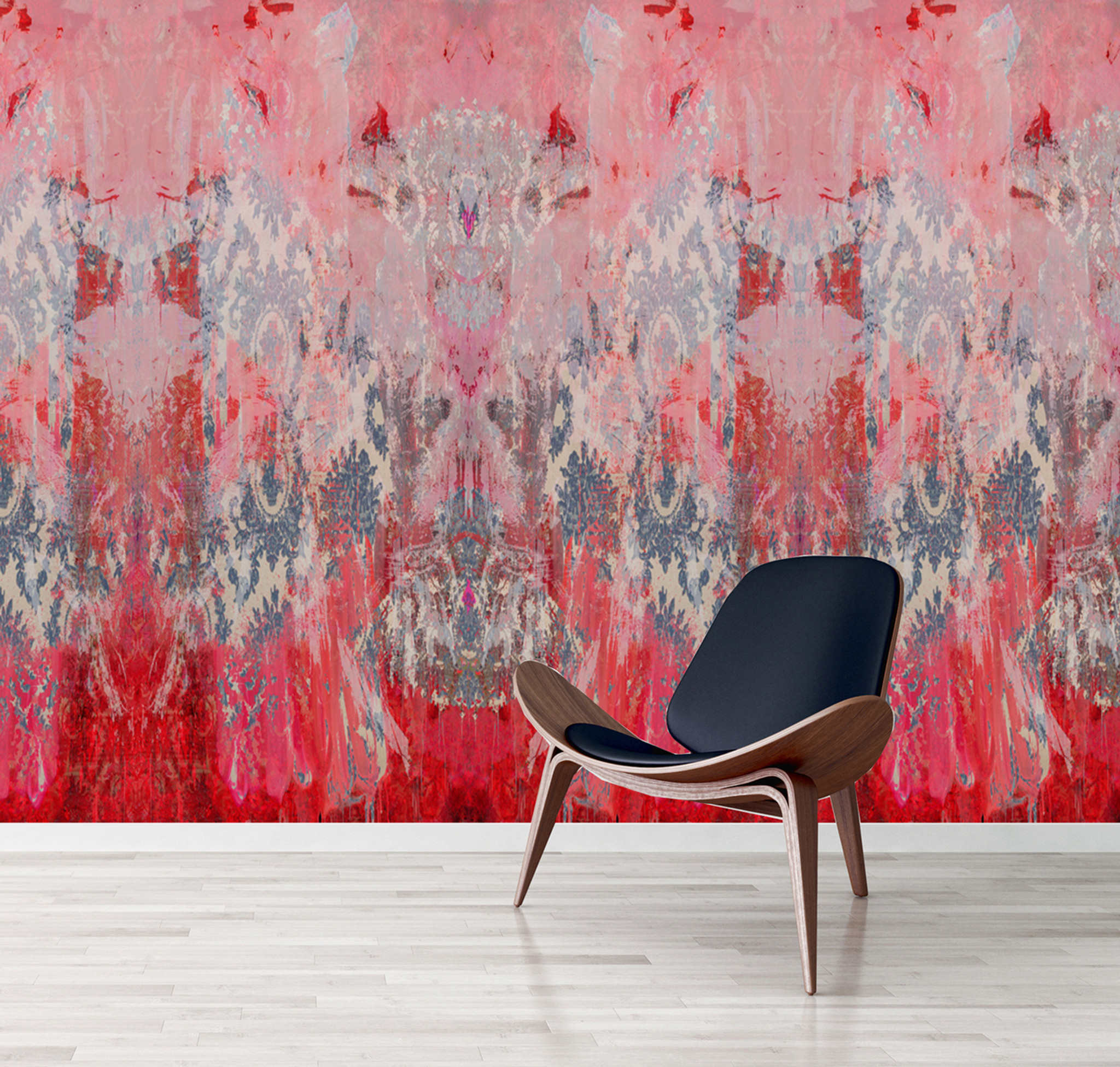 Wallpaper - Damask in Distress _ Fading Pink