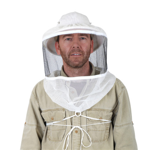 Round Veil with String Tie Down with Ventilated Helmet