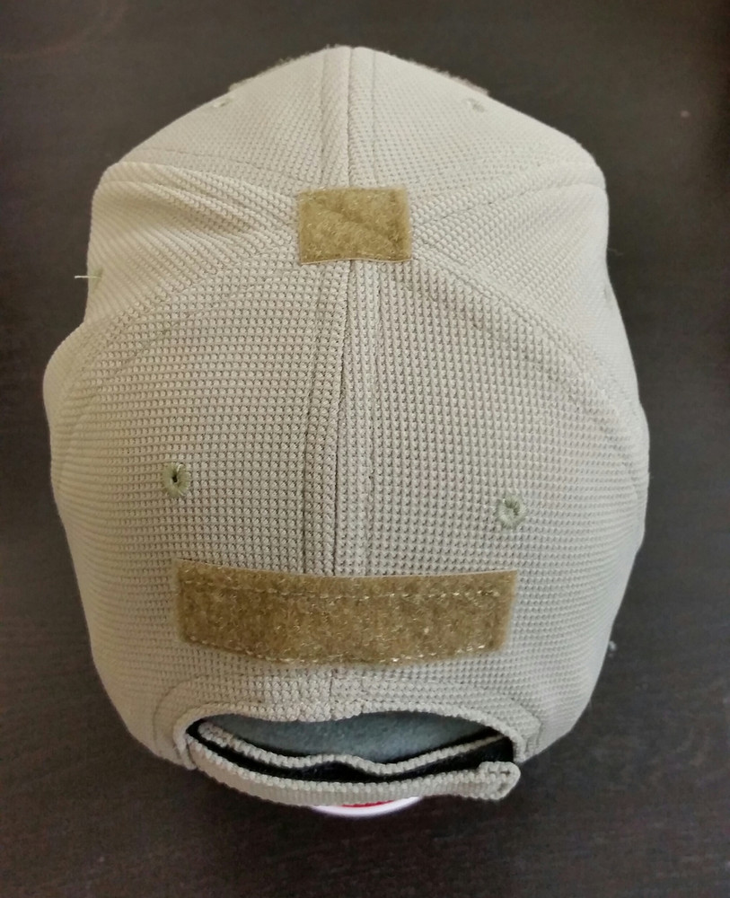 T3 Embroidered Hat Adjustable, Khaki Color, Velcro patches on Front, Top, and Back.