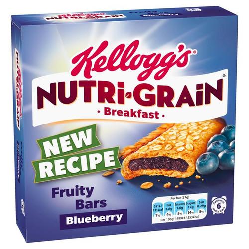 Kellogg's Nutri Grain Blueberry Breakfast Bars 6 x 37g