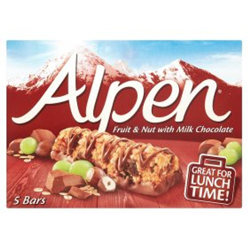 Alpen Fruit & Nut  Milk ChocolateCereal Bars 5 x 29g
