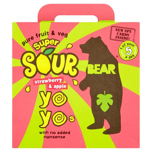 Bear Yo Yo's Super Sour Strawberry  And Apple  Fruit Rolls