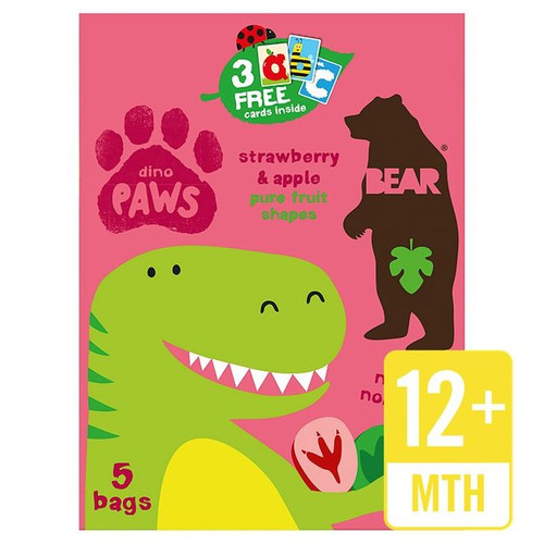 Bear Fruit Paws Dino Strawberry & Apple Multipack 5 x 20g