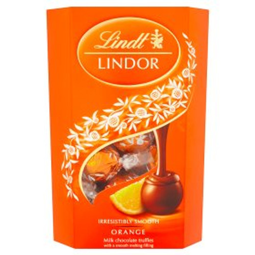 Lindt Lindor Orange Milk Chocolate Truffles with a Smooth Melting Filling 200g