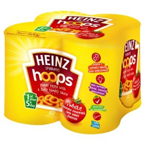 Heinz Spaghetti Hoops in Tomato Sauce 4x400g