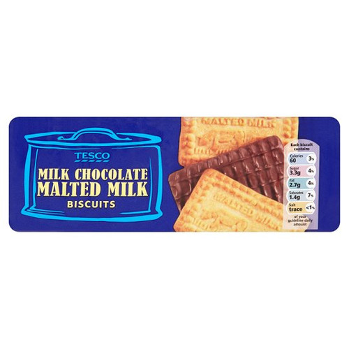 Tesco Chocolate Malted Milk Biscuits 250G