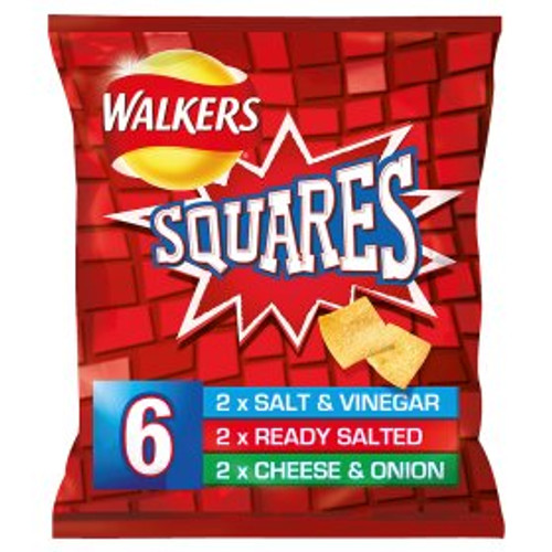 Walkers Squares Crunchy Variety Snacks 6x22g