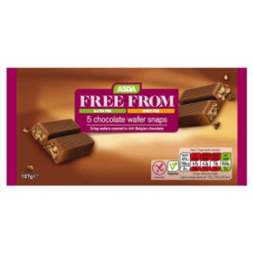 ASDA Free From 5 Chocolate Wafer Snaps 107g