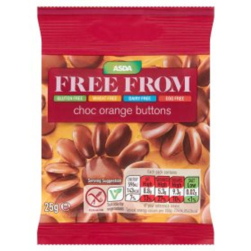 ASDA Free From Choc Orange Buttons 25g