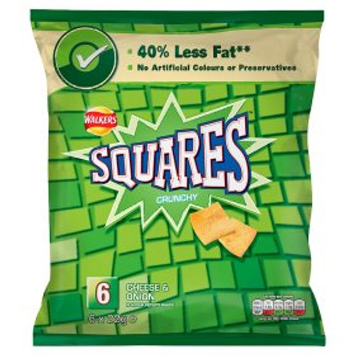 Walkers Squares Crisps Cheese and Onion 6 x 22g