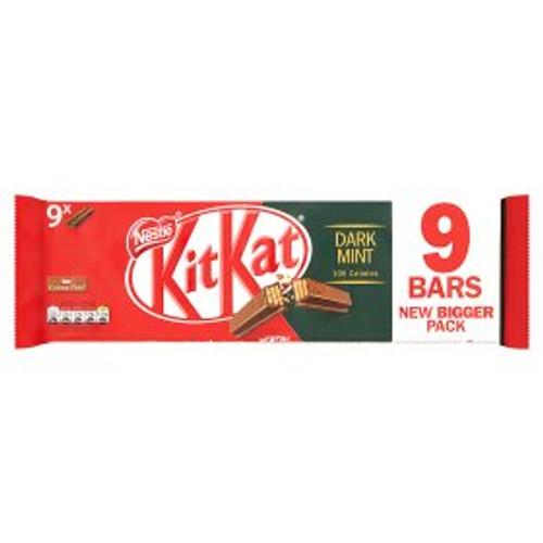 Nestle KitKat 2 Finger Dark Mint Chocolate Biscuit Bar 9 Pack