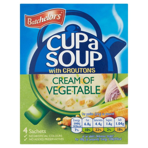 Batchelors Cup Of Soup With Croutons Cream Of Vegetable 4S 122G