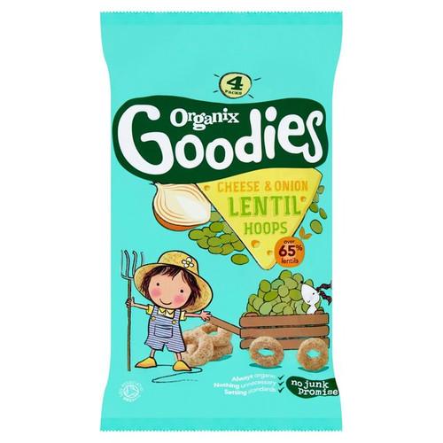 Organix Goodies Cheese & Onion Lentil Hoops 4 x 15g