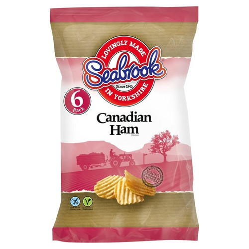 Seabrook Crinkle Cut Canadian Ham Flavour Potato Crisps 6x25g