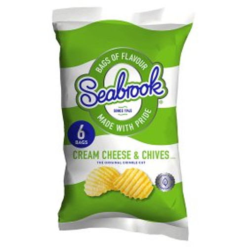 Seabrook Crinkle Cut Cream Cheese & Chives Flavour Potato Crisps 6x25g