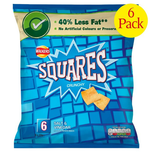 Walkers Square Crisps Salt And Vinegar 6 x 22g