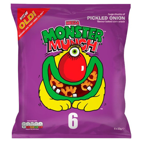 Walkers Monster Munch Pickled Onion 6 X 22G