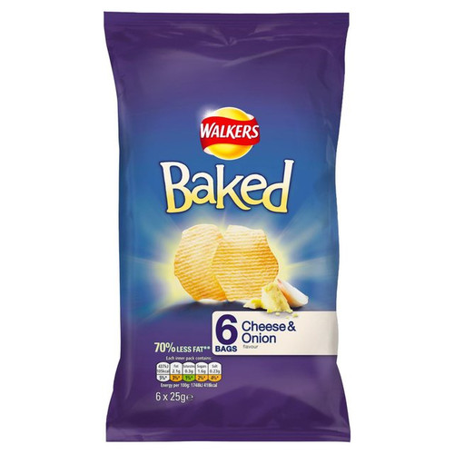 Walkers Baked Crisps Cheese And Onion 6 Pack
