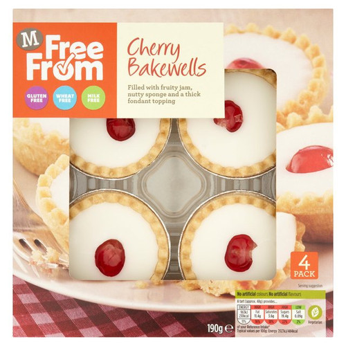 Morrisons Free From Cherry Bakewells 4 Pack