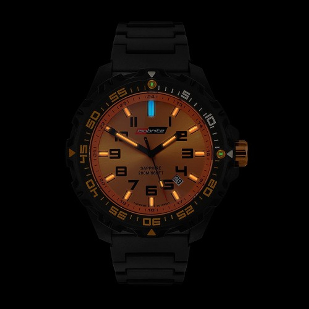 Isobrite Valor Series - Orange Dial - Illumination: Swiss-Made T100 tritium markers