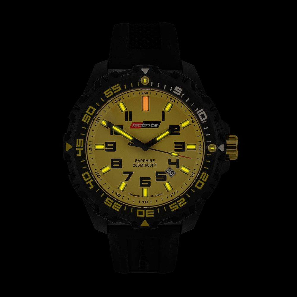 Isobrite Valor Series - Yellow Dial - Illumination: Swiss-Made T100 tritium markers