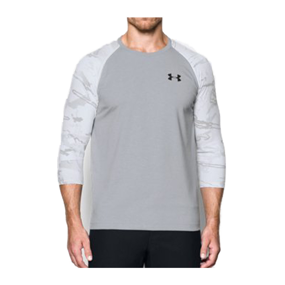 UA RIDGE REAPER ¾ SLEEVE TEE - TRUE GRAY HEATHER / BLACK