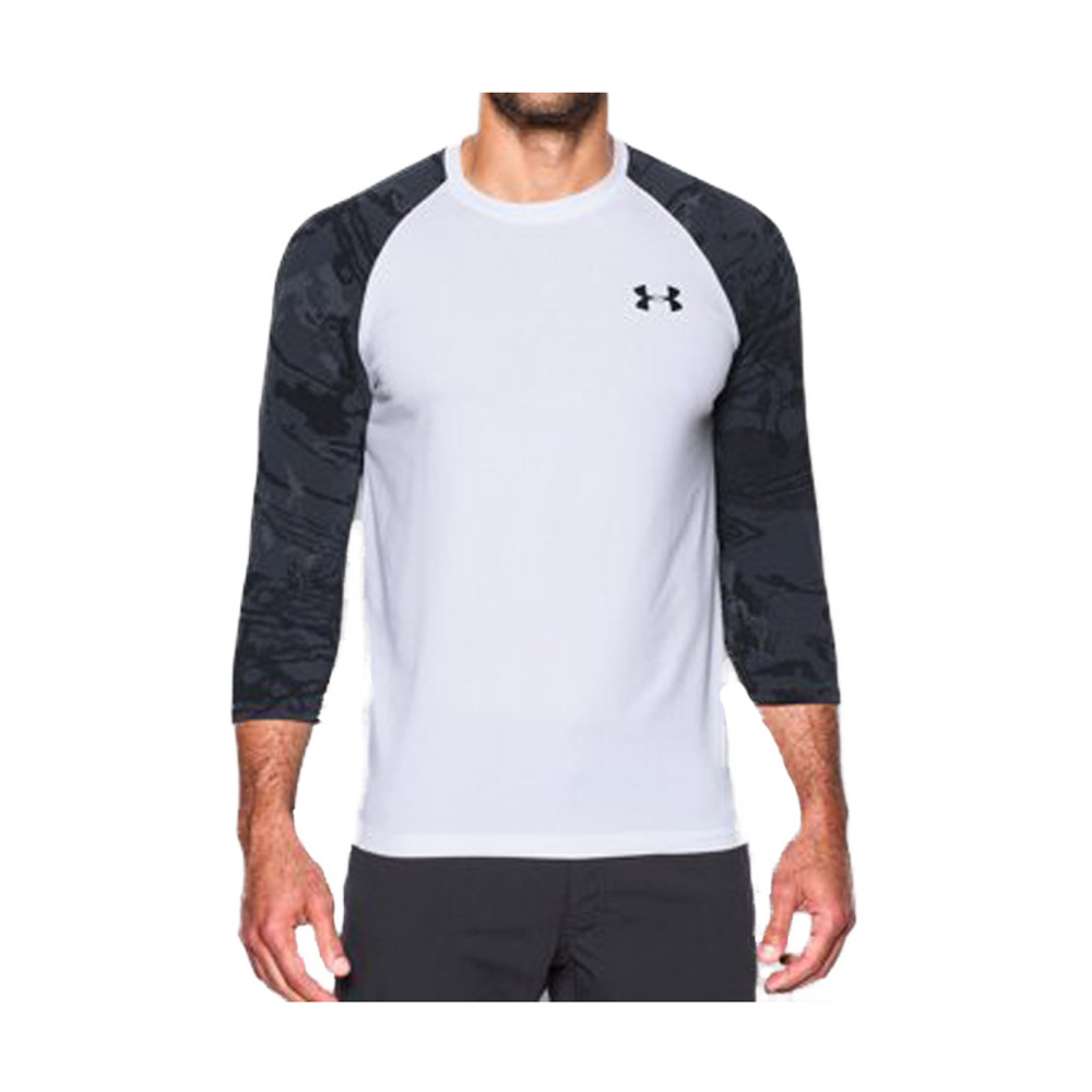 UA RIDGE REAPER ¾ SLEEVE TEE - WHITE / BLACK
