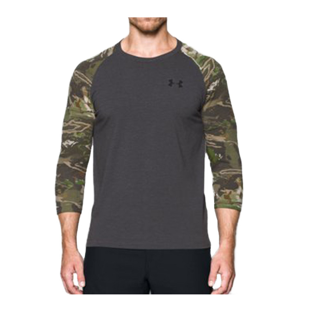 UA RIDGE REAPER ¾ SLEEVE TEE - CARBON HEATHER