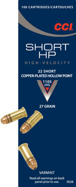 CCI 22 Short, 27 Gr Copper-Plated HP, 100 ct