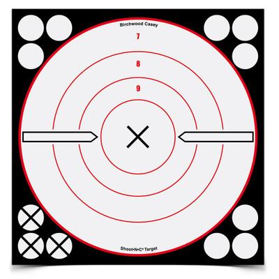 """Birchwood Casey Shoot-N-C 8"""" Black & White """"X"""" Bullseye, 6 pk"""