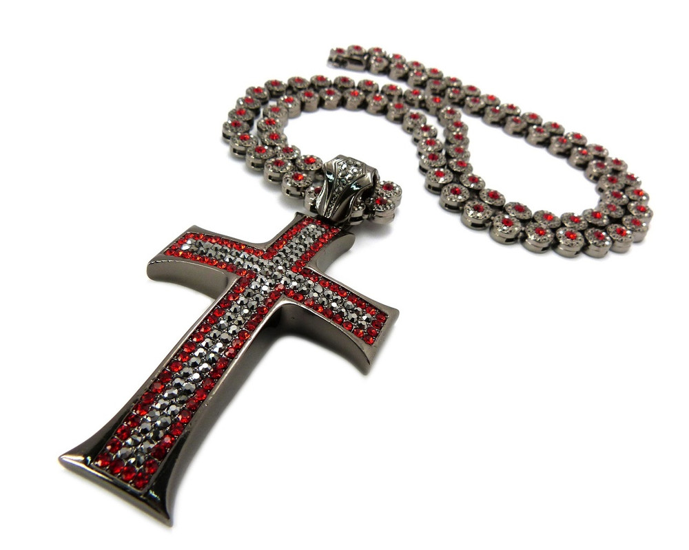 Mens Hip Hop Cluster Chains Classic Cross Pendant Black
