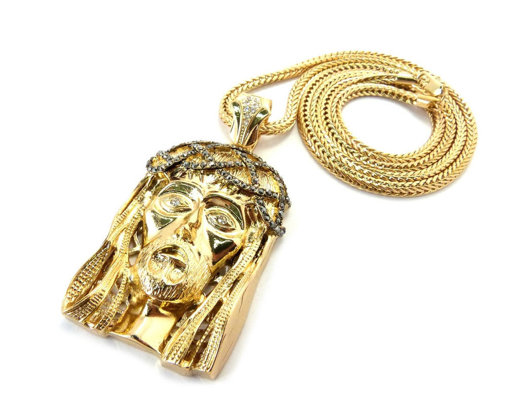 Simulated diamond crown of thorns hip hop jesus piece pendant gold hip hop jesus piece 14k gold jesus piece mozeypictures Image collections
