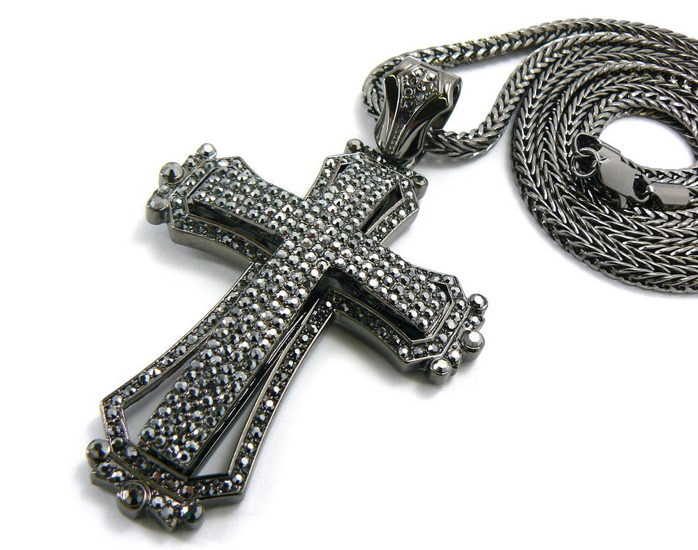 Mens Hip Hop 3D Style Cross Pendant & Chain Black