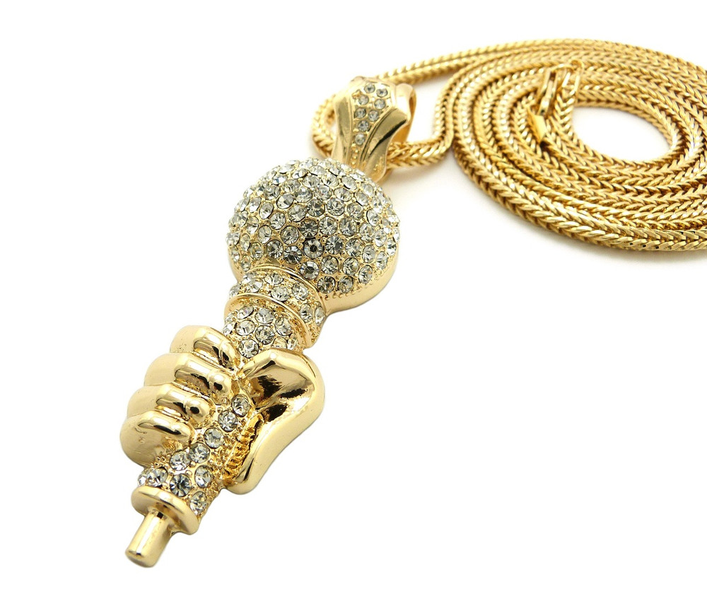 Hip Hop One Mic Microphone Pendant w/ Franco Link Chain Gold