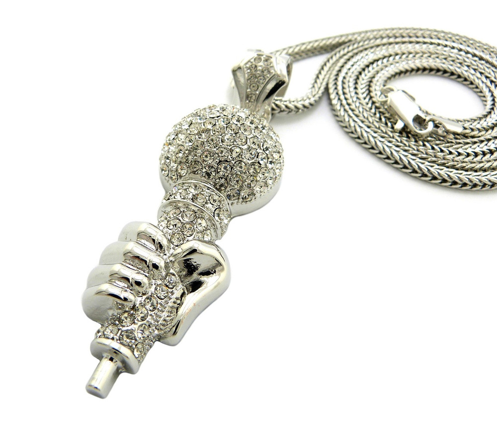 Hip Hop One Mic Microphone Pendant w/ Franco Link Chain Silver