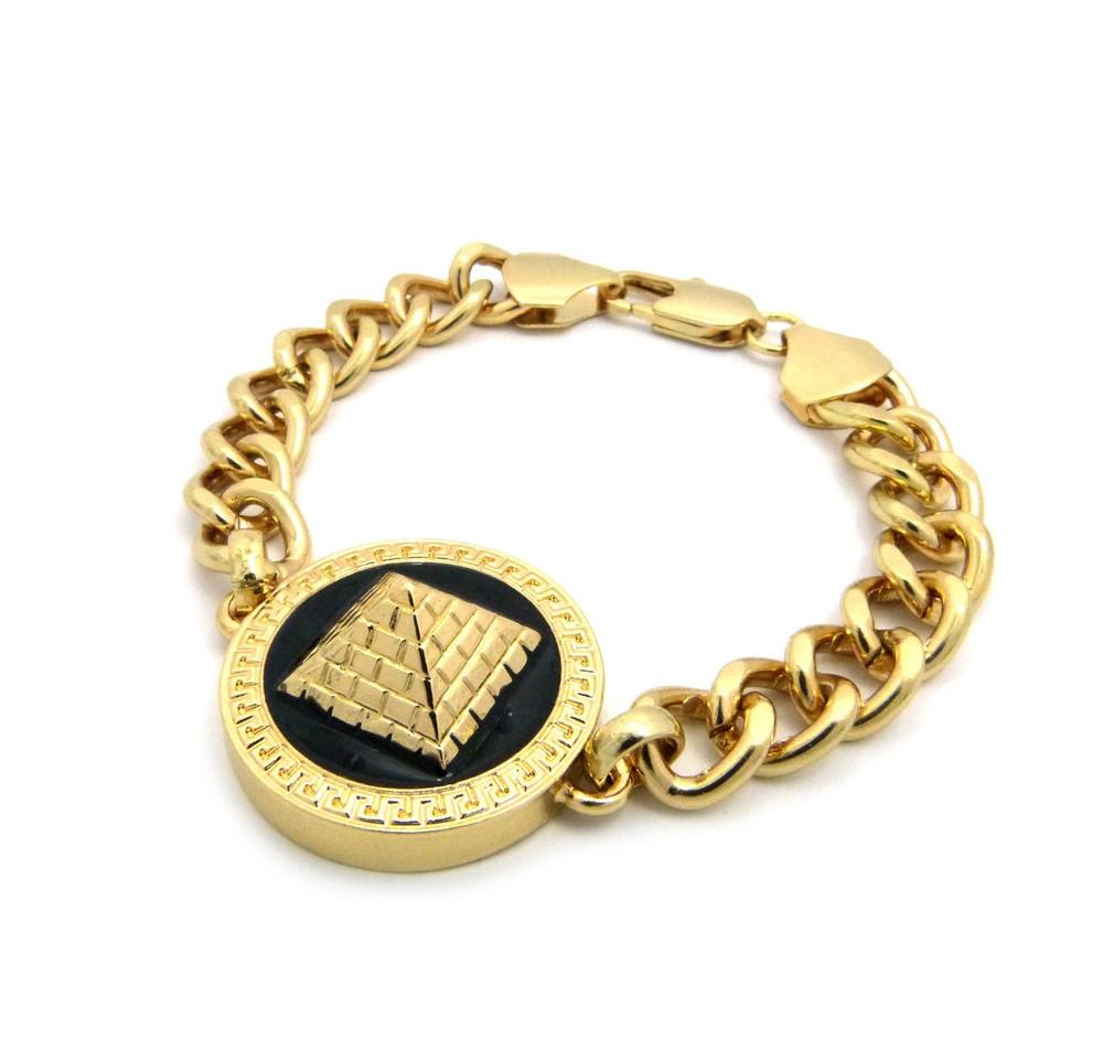 Hip Hop Egyptian Pyramid 3D Bracelet Gold Black Enameled