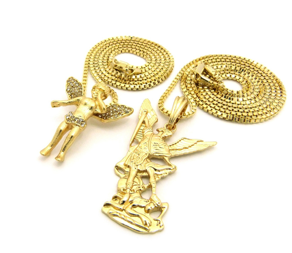 Micro Small Michael Archangel Angel Cherub Chain Gold